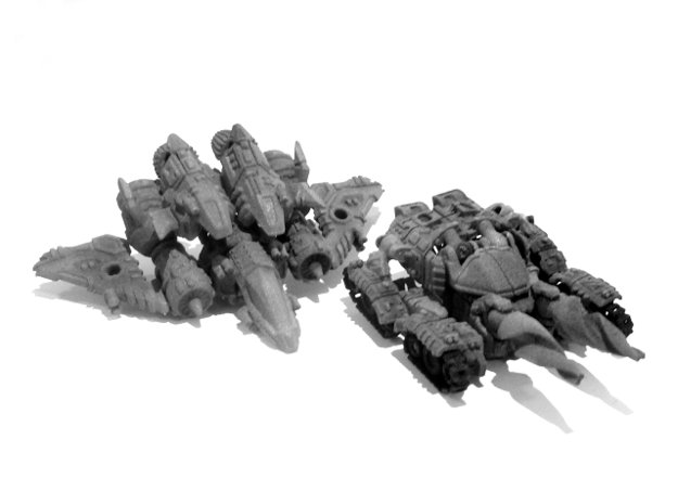 "01-GDT ""Crusader"" 3d printed (Painted) 01-GDT Crusader: Tank Mode (Size Comparison with 02-ASV Recon)"