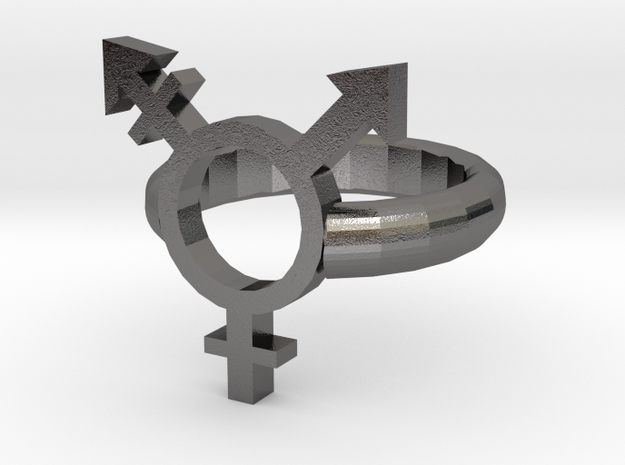 Trans Pride Ring in Polished Nickel Steel: 9 / 59