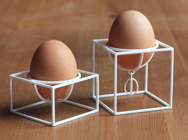 Eggcups No1 and No2 SET in White Processed Versatile Plastic