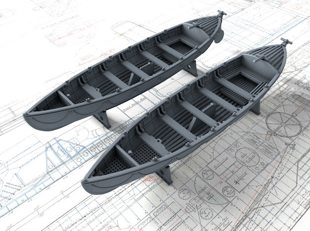 1/144 Royal Navy 27ft Whaler x2 in Frosted Ultra Detail