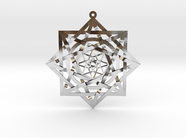 "8:8 Tesseract Stargate Pendant 2.6"" in Polished Silver"
