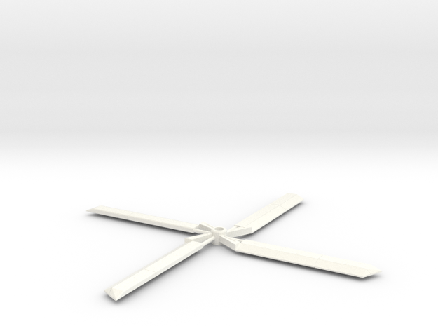 Combining Helicopter Robot Rotor Blades in White Processed Versatile Plastic