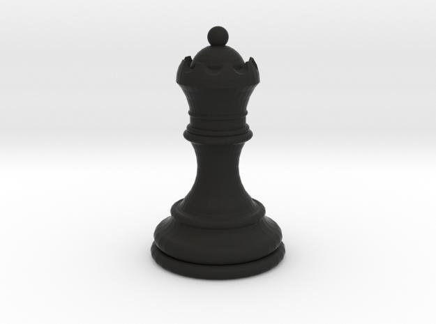 Chess Queen in Black Natural Versatile Plastic