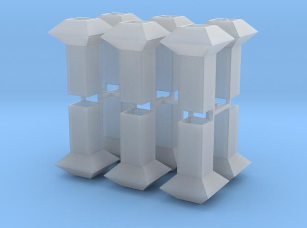 Dachlüfter 12erSet Typ 1 und 2  modern 1:120 in Smooth Fine Detail Plastic
