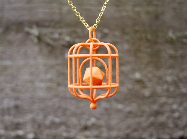 Platonic Birds - Dodecahedron in Orange Processed Versatile Plastic