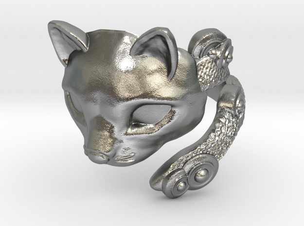 Cat Mask Ring in Raw Silver: 8 / 56.75