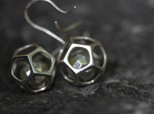 Dodecahedron earrings in Interlocking Polished Silver