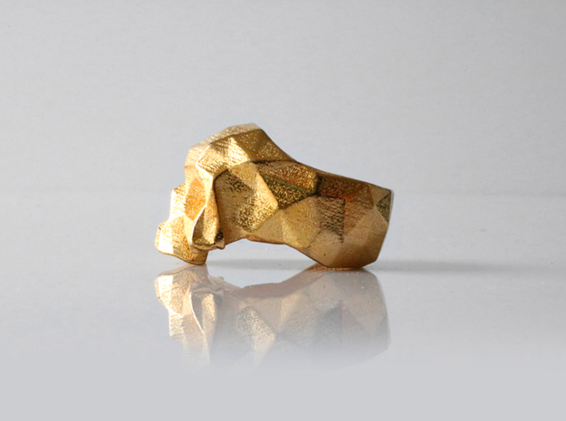 HAROW-SKULL-RING / Size - M in Polished Gold Steel