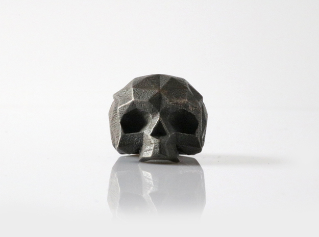 HAROW-SKULL-RING / Size - S in Polished and Bronzed Black Steel