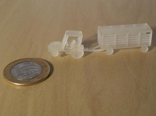 007A 1/144 Tractor & Trailer  in White Natural Versatile Plastic