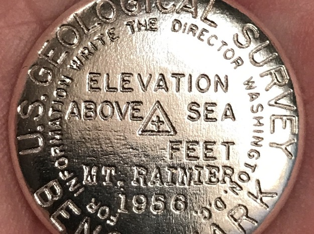 USGS BENCH MARK KEYCHAIN MT RAINIER in Raw Silver