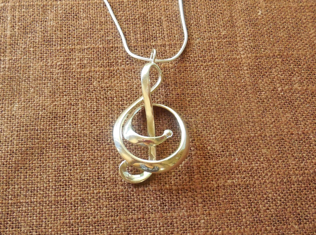 Treble Clef Pendant in Precious Metals in Polished Silver