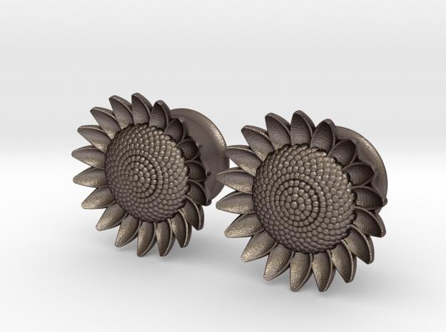 "Sunflower 5/8"" ear plugs 16mm in Stainless Steel"