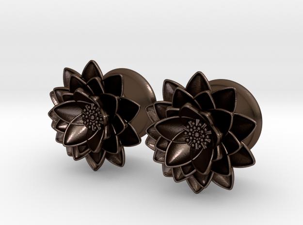 """Lotus flower 5/8"""" ear plugs 16mm in Polished Bronze Steel"""