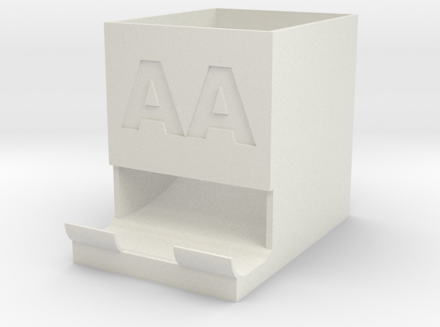 AA Battery holder and dispenser in White Strong & Flexible