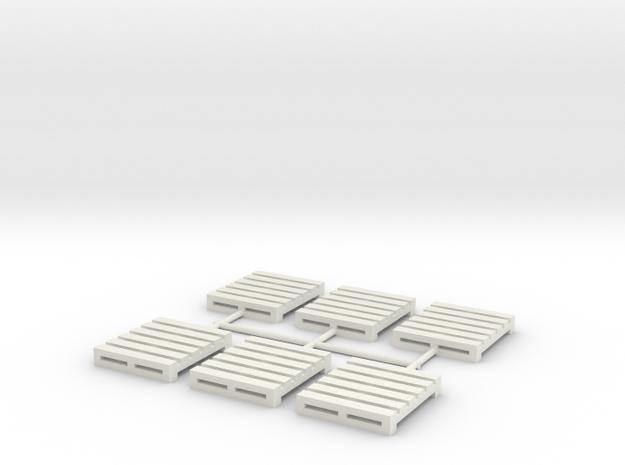 Pallet-3 (6 ea.) (HO) in White Natural Versatile Plastic: 1:87 - HO