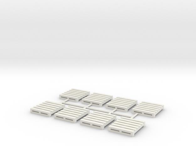 Pallet-4 (8 Ea.) (HO) in White Natural Versatile Plastic: 1:87 - HO