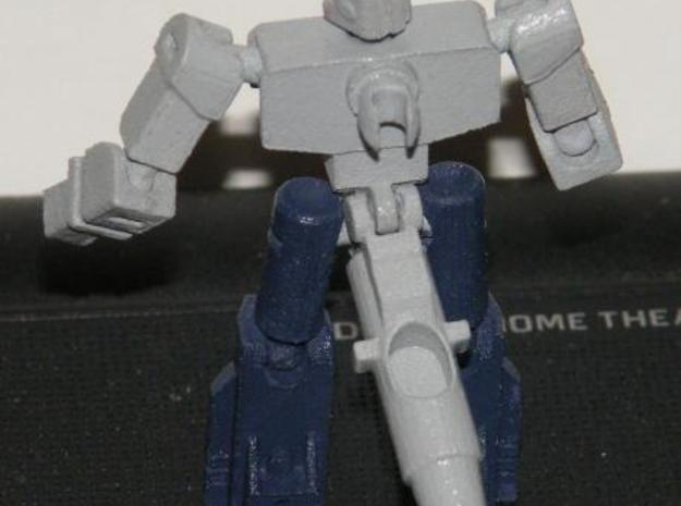 """Dustup"" Gunslinger figure 3d printed Robot mode rear view, with the barrel pulled down to show the 5mm post with its integrated 3mm clip."