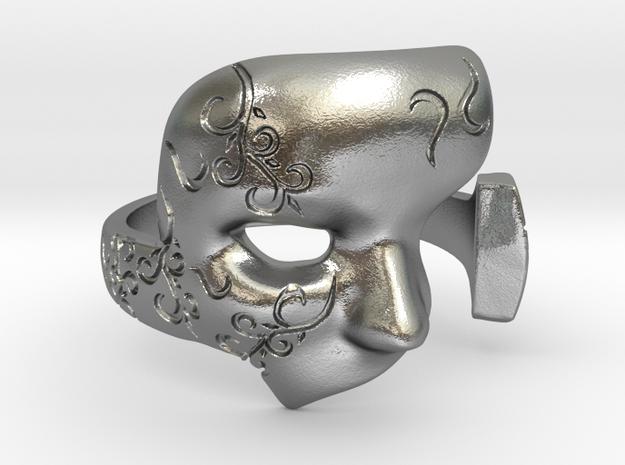 Phantom Mask Ring in Natural Silver: 8 / 56.75