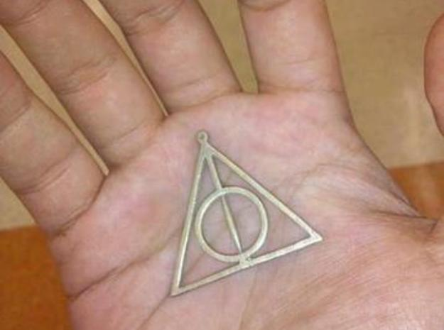 deathly hallows harry potter pendant no spin 3d printed stainless