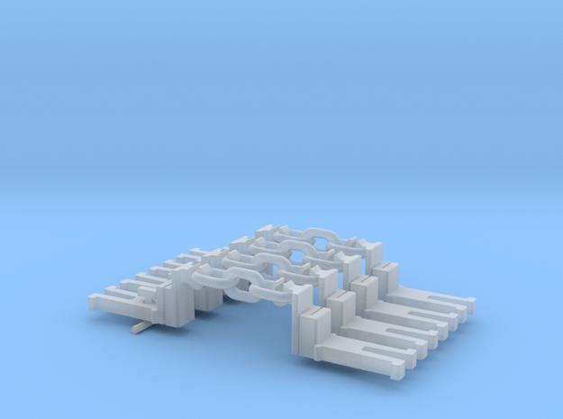 NEM OO Type 28 Couplings - Big-Step Up 3 Link x4 in Smooth Fine Detail Plastic