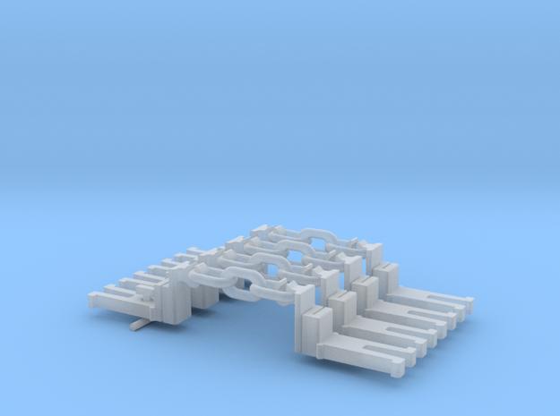 NEM OO Type 43 Couplings - Big-Step Up 3 Link x4 in Smooth Fine Detail Plastic
