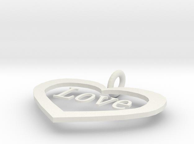 love pendant  in White Strong & Flexible