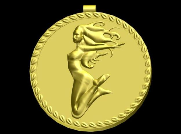 Art Nouveau Jump Pendant 3d printed Rendered in Gold