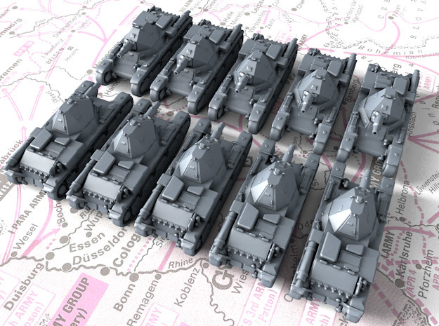 1/600 French AMX 38 Light Tank x10 in Smoothest Fine Detail Plastic