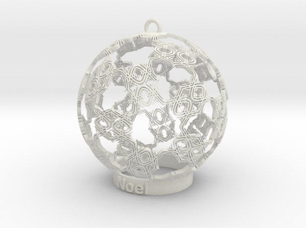 noel Ornament in White Strong & Flexible