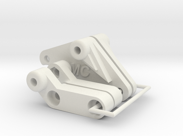 Tamiya Blackfoot Complete Rear Shock Mount  in White Strong & Flexible