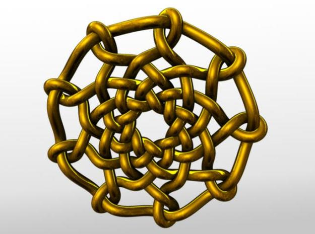 Celtic Knots 04 (small) 3d printed Rendered in gold.