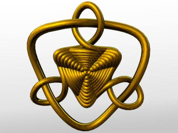 Celtic Knots 09 (small) 3d printed Rendered in gold.