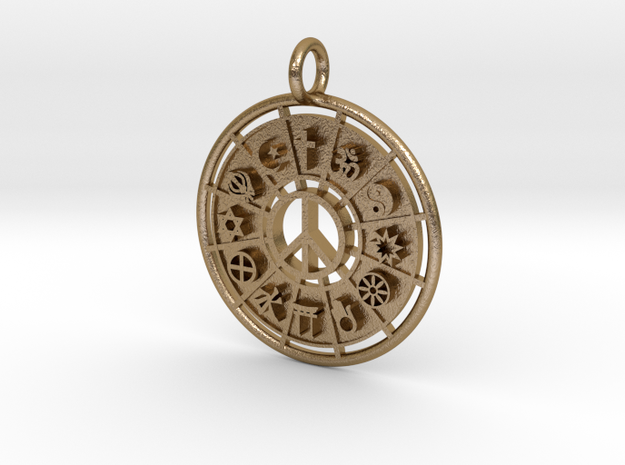 World Religions Keychain  in Polished Gold Steel