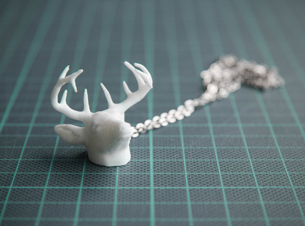 Deer Head Pendant in White Processed Versatile Plastic
