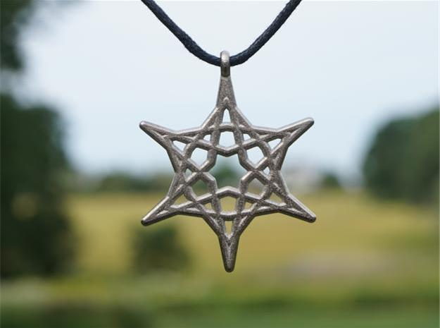 Hex Star Pendant in Polished Nickel Steel
