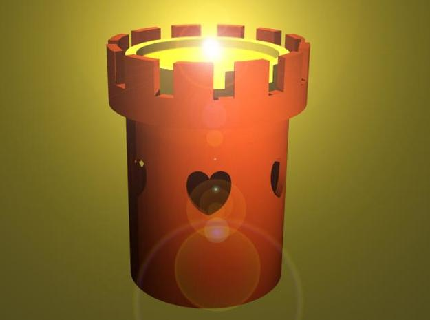 Tower of Love - Tealight Candle Holder  in White Natural Versatile Plastic