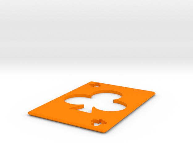 Throwing Card  Clubs in Orange Processed Versatile Plastic