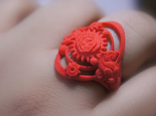 Botanica Mechanicum Ring SIZE 6 3d printed Coral red Strong and Flexible