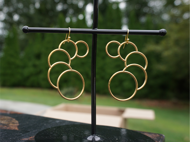 Eclipse Earrings in Natural Brass