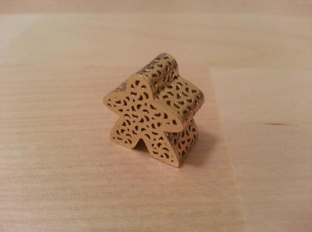 Filigree Meeple in Natural Brass