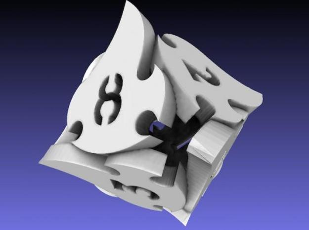 Tocrax Eight-Sided Die in White Strong & Flexible