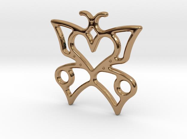 butterfly heart in Polished Brass