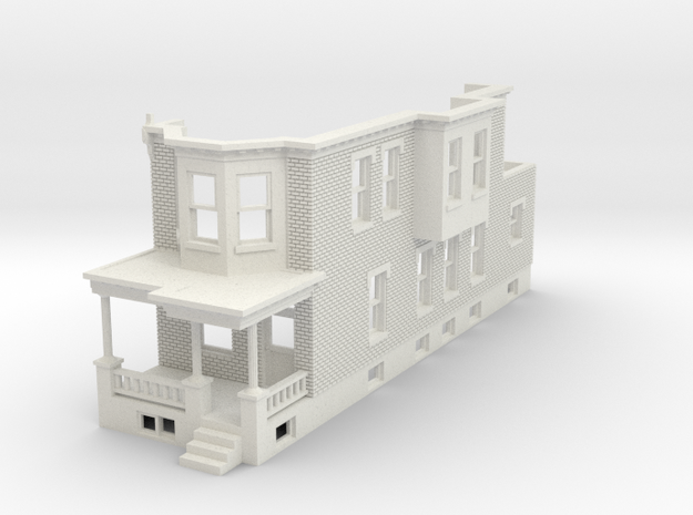 HO scale WEST PHILLY ROW HOME END  in White Natural Versatile Plastic