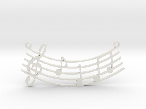 Music Pendant in White Natural Versatile Plastic