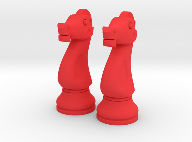 "Pair Knight Chess Big - Timur Knight ""Asp"" in Red Processed Versatile Plastic"