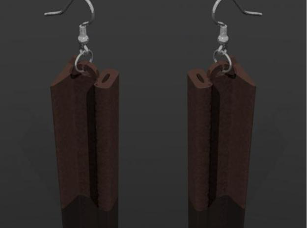 Railway earring 3d printed A rendering of how it might look with Antique bronze and earring hooks from shapeways
