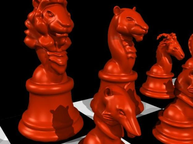 Chess piece – Lion as King 3d printed Lion (also shows other chess pieces) - rendered in Maya in red color.