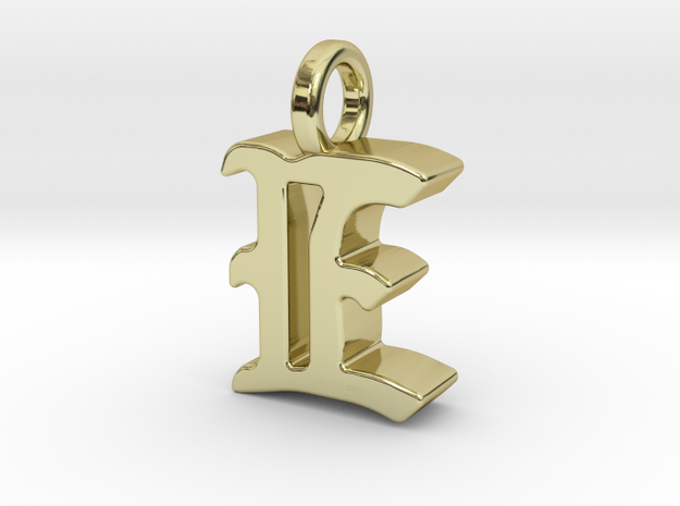 E - Pendant - 3 mm thk. in 18k Gold Plated Brass