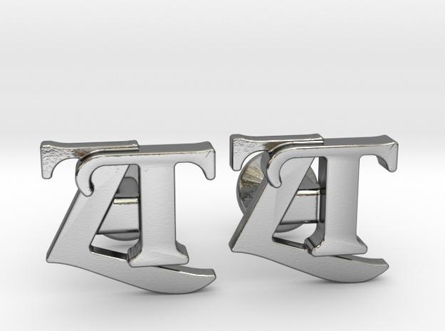 Monogram Cufflinks ZT in Polished Silver